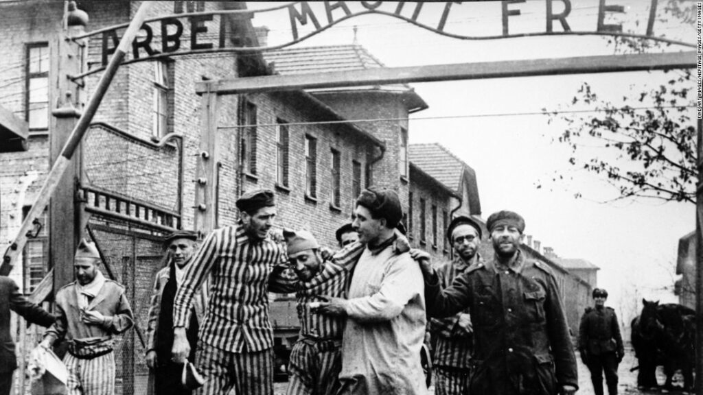Jewish prisoners released from Auschwitz concentration camp and the holocaust at the end of world war 2.